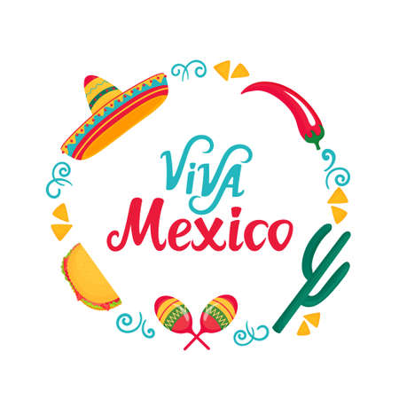 Viva Mexico hand drawn lettering. Frame with sombrero, maracas, cactus, tacos and chili pepper. Independence Day.