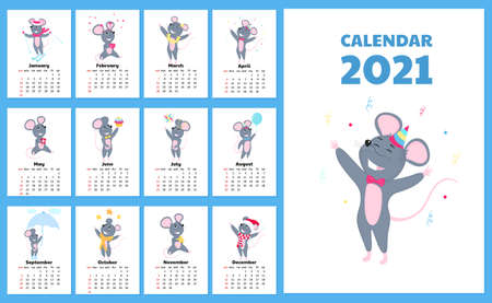 Calendar for 2021 from Sunday to Saturday. Cute rats in different costumes. Mouse cartoon character. Funny animal