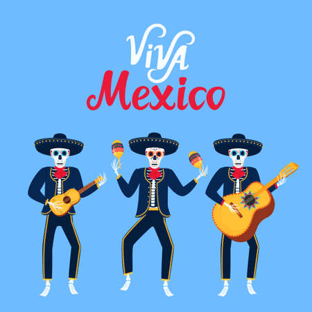 Viva Mexico hand drawn lettering. Cartoon dead mariachi play musical instruments. Sugar skull vector illustration. Independence Day.