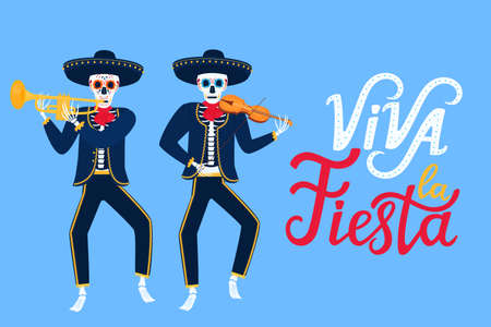Viva la Fiesta hand drawn lettering. Cartoon dead mariachi play musical instruments. Sugar skull vector illustration. Independence Day of Mexico. Illusztráció