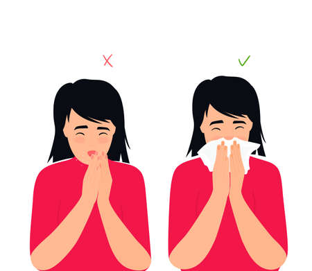Girl sneezes and coughs right and wrong. The symptoms of colds and flu. Respiratory disease. Runny nose in a child Illusztráció