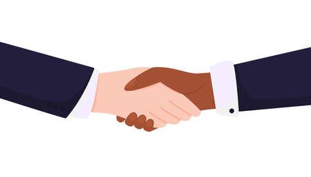 No to racism. Handshake white and black hands. Vettoriali