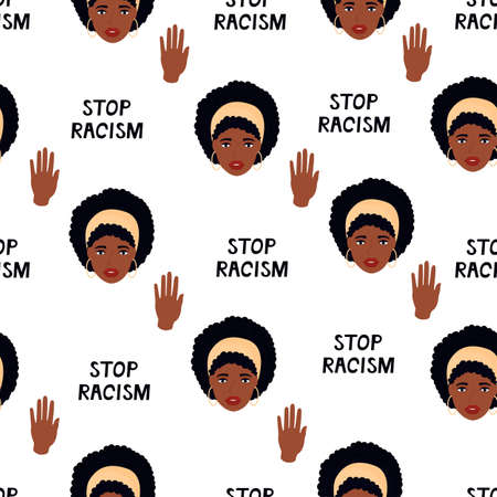Black Lives Matter seamless pattern. Stop Racism. African American woman. Protest against violence, discrimination. Fight for rights.