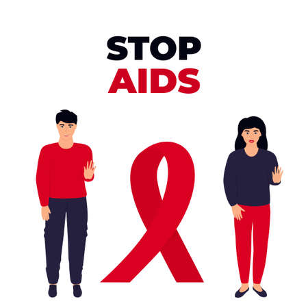 Stop AIDS. A young couple guy and a girl stand near a huge red ribbon. Illusztráció