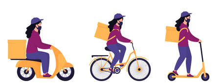 A set of courier girls in protective masks deliver parcels on a motorcycle, bicycle and electric scooter. Safe food delivery. Illusztráció
