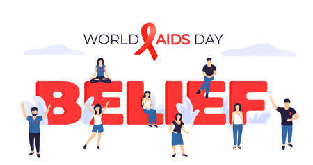 World Aids Day banner. Tiny people with red ribbons near the huge inscription Belief.