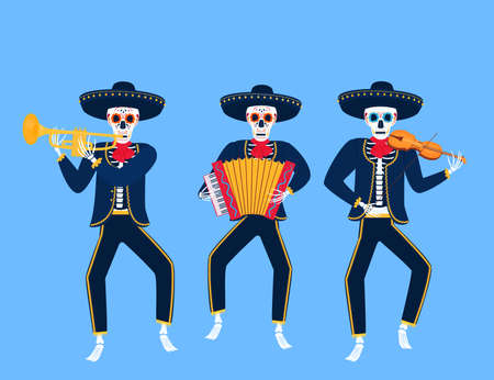 Cartoon dead mariachi play musical instruments. Sugar skull vector illustration. Independence Day of Mexico