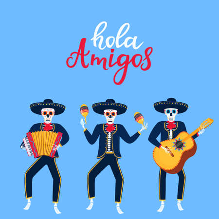 Hola Amigos hand drawn lettering. Cartoon dead mariachi play musical instruments. Sugar skull vector illustration. Independence Day of Mexico