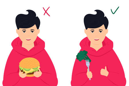 Healthy vs unhealthy food. Boy holds burger. and broccoli. Teenager likes to eat vegetables Illusztráció