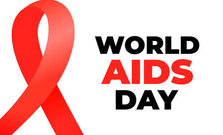 World Aids Day banner with red satin ribbon. Illusztráció