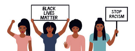Black Lives Matter Design. Stop Racism. African American woman raised her fist. Girls hold banners. Protest against violence, discrimination. Fight for rights.