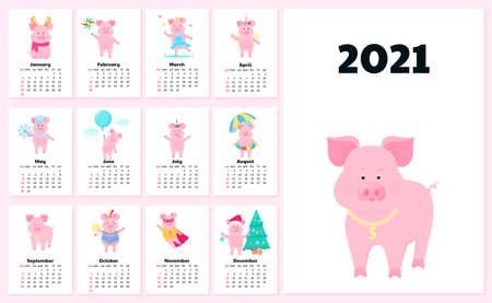 Calendar for 2021 from Sunday to Saturday. Cute pigs in different costumes. Superhero, Princess, Santa Claus. Funny animal. Piggy cartoon character Illusztráció