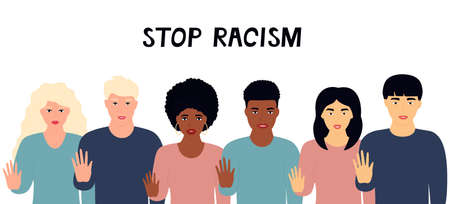 All Lives Matter. A group of multiethnic people show stop gesture. Protest against racism, violence, discrimination. Fight for rights. Illusztráció