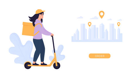 The girl courier delivers the parcel on an electric scooter. Illustration