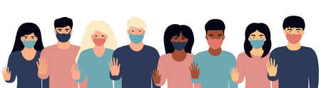 A group of multiethnic people wearing protective masks showing stop gesture. Protest against racism, discrimination during coronavirus quarantine. Fight for rights.