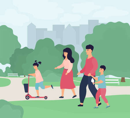 Happy family weekend. Parents with children walk in a city park. The father leads his son by the hand. A boy eats ice cream. A girl rides a scooter. Mom walks with her daughter in nature