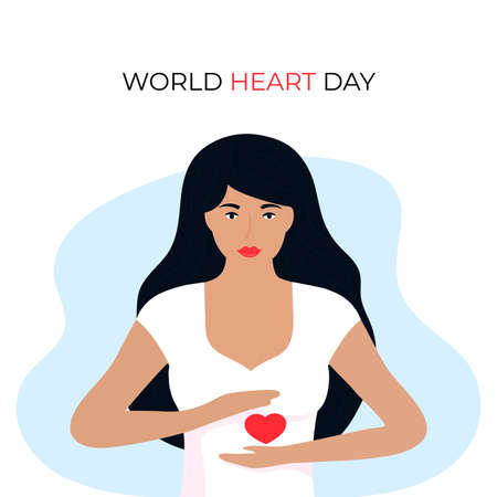World Heart Day illustration for love and support concept, health care awareness with girl holds heartshape. Illusztráció