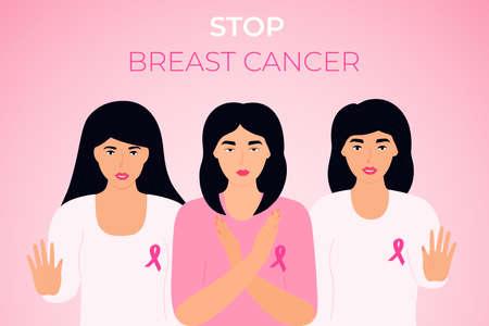 National Breast Cancer Awareness Month. Group of diverse women with pink ribbon on their chest showing stop gesture