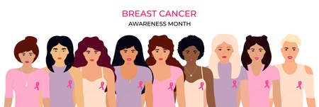 National Breast Cancer Awareness Month. A group of multiethnic women with a pink ribbon.