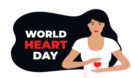 World Heart Day illustration for love and support concept, health care awareness with girl holds heart shape
