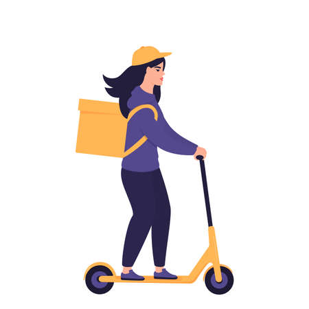 The girl courier delivers food on an electric scooter. Eco transport