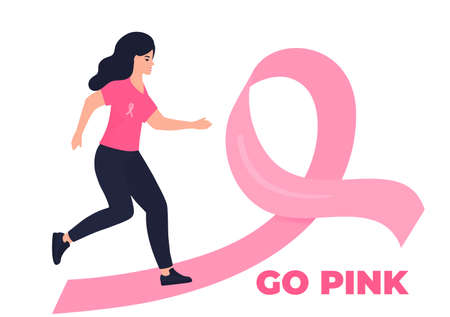 Woman running marathon on a pink ribbon road in support of breast cancer patients. October Awareness Month on Womens Health