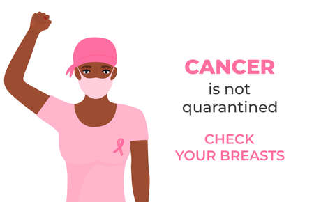 African American women cancer patient wearing headscarf after chemotherapy and medical mask raised her fist during coronavirus quarantine. Check your breasts. October Awareness Month on Women s Health