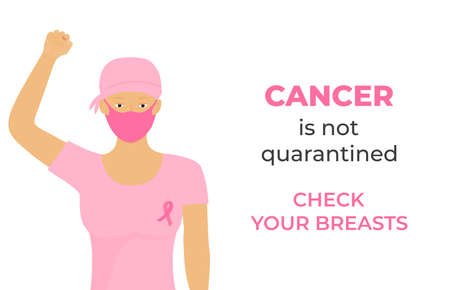 Women cancer patient wearing headscarf after chemotherapy and protective medical mask raised her fist during coronavirus quarantine. Check your breasts. October Awareness Month on Womens Health Illusztráció