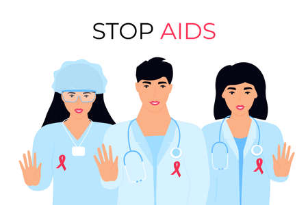 A group of doctors with red ribbons on medical gowns show a gesture of Stop Aids. World sexual health day.