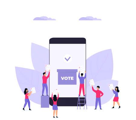 Remote voting. Tiny voters near a huge smartphone ballot box cast a vote