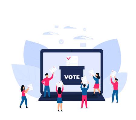 Remote voting. Tiny voters near a huge laptop ballot box cast a vote