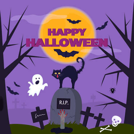 Happy Halloween party poster. A funny ghost scared the cat in the cemetery. The hand of a corpse sticks out of the grave