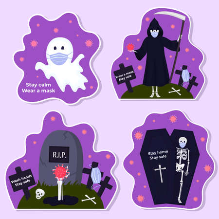 Set of funny Halloween stickers during coronavirus. Skeleton, death with scythe, ghost wear protective masks. Traditional characters and objects for invitations, cards, posters for safe celebration
