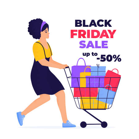 Black Friday Sale banner. Girl is shopping with trolley full of purchases and gifts.