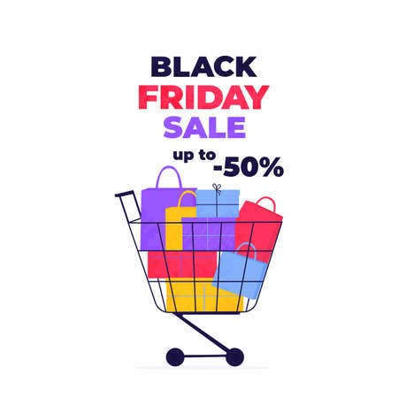Black Friday Sale. Shopping trolley full of purchases and gifts Иллюстрация