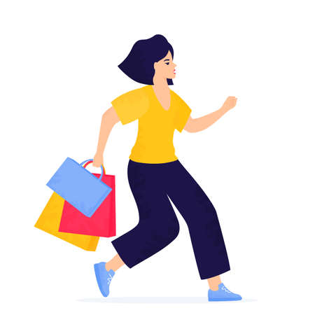 Black Friday Sale banner. Girl with shopping bags is running to shopping