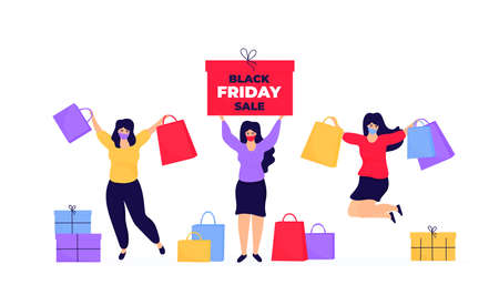 Black Friday Sale. Shopping girls in a protective face masks jumping and rejoicing Иллюстрация