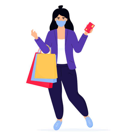 Black Friday Sale banner. Girl in a protective face mask with shopping bags and credit card Иллюстрация