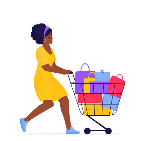 Black Friday Sale banner. African american girl is shopping with trolley full of purchases and gifts