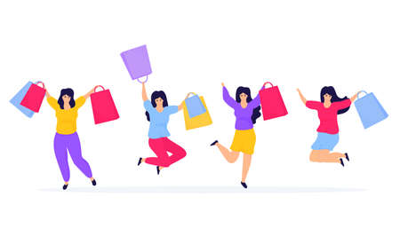 Black Friday Sale. Shopping girls jumping and rejoicing Иллюстрация