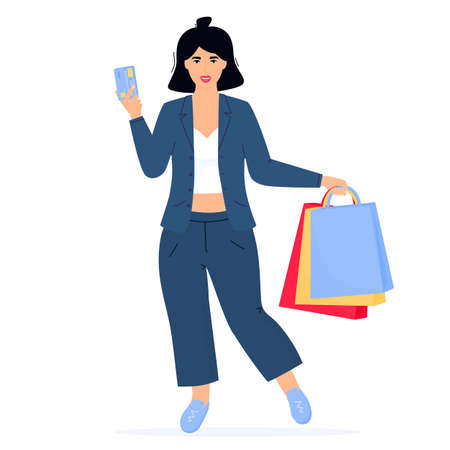 Black Friday Sale banner. Girl with shopping bags and credit card