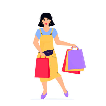 Black Friday Sale banner. Girl with shopping bags.