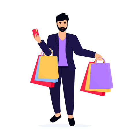 Black Friday Sale banner. Man with shopping bags and credit card. Фото со стока - 157828409