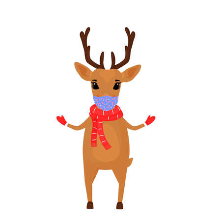 A reindeer Christmas cartoon character wears a scarf and a protective face mask.