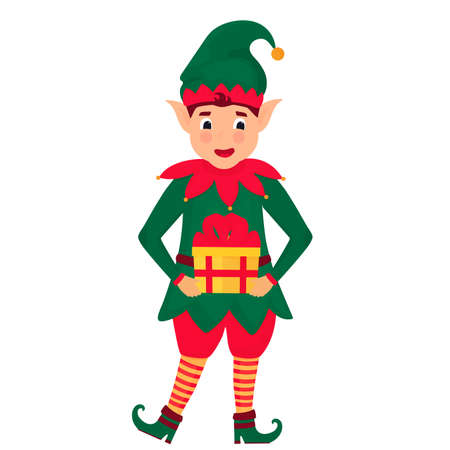 Funny Christmas elf holds a box with a gift. Vector illustration. Cartoon character Фото со стока - 158121914