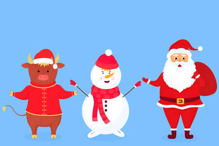 Santa Claus with a bag. A snowman in a scarf and a hat. Bull symbol of Chinese New Year. Иллюстрация