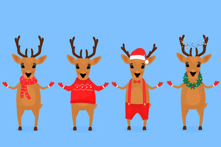Funny Christmas reindeer in a Santa Claus hat, in a scarf, with a garland, in shorts on suspenders, in a sweater. Иллюстрация