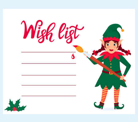 Funny girl elf with a paint brush writes a Wish list.