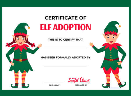 Elf Adoption Certificate for boys and girls. Фото со стока - 158282829