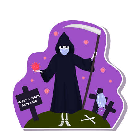 Halloween stickers during coronavirus. Death with scythe wears protective mask. Фото со стока - 158427338